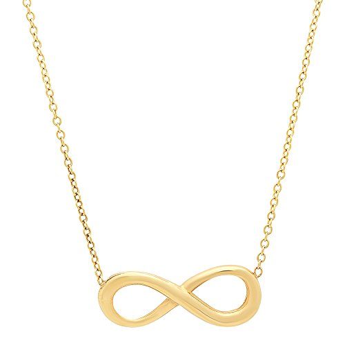 14K Yellow Gold Eternal Infinity Charm Necklace with Rolo Link Chain - 16