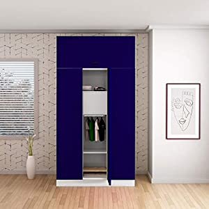 GODREJ INTERIO Slimline 3 Door Steel Almirah with Locker and Drawer, with Over Head Unit – Ultra Marine Blue,Textured…