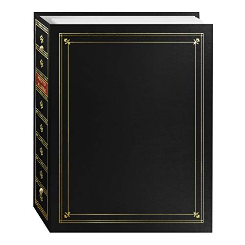 Pioneer Photo Albums 3-Ring Bound Black Leatherette Cover with Gold Accents Photo Album for 4 by 7-Inch, 5 by 7-Inch, and 8 by 10-Inch Prints (Pioneer Wedding Album)