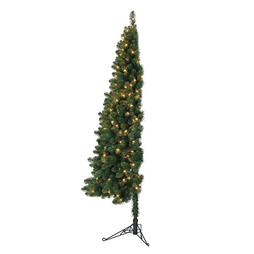 Ready Lit Christmas Trees - Home Heritage 7' Pre-Lit PVC Artificial Half Christmas Tree with Folding Stand