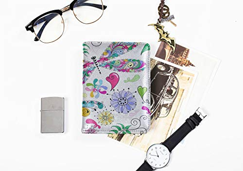 Travel Case Passport Holder Colorful Butterflies And Flowers Stylish Pu Leather Personalized Passport Holder Case Passport Holder Travel Case For Women Men Passport Cover