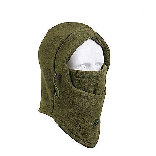 - Outdoor sports Windproof Mask Cap neck warmer winter warm hat ski face mask hood windproof fleece hat for men and women-army green