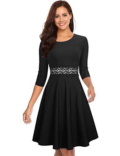 GloryStar Women's Retro Cocktail Fit Flare Empire Waist Embroidery Wedding Guest Dress for Party Black - Empire Cocktail Waist