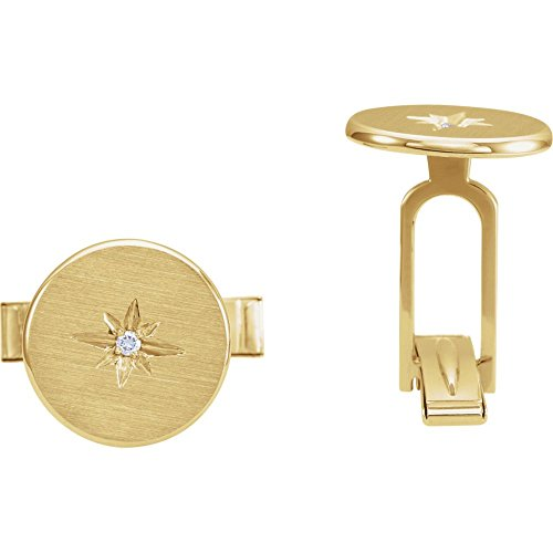 14k Yellow Gold Polished .03 Dwt Diamond Starburst Mens Cuff Links