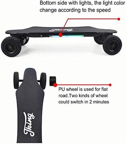 FATSW Skateboard Électrique Longboard Électrique avec des Néons Télécommande sans Fil Bluetooth, 40 km/h en Vitesse de Pointe, Portée de 15 km, érable 8 Couches avec Planche pour Adulte Enfant