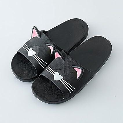 Fankou La cool verano zapatillas parejas home zapatillas, elegante y gatos lindos y anti-