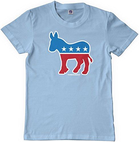Democrat Light T-shirt (Threadrock Big Girls' Democrat Donkey Youth T-shirt XS Light Blue)