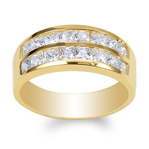 JamesJenny Mens Yellow Gold Plated Square CZ Double Channel Band Ring Size 11