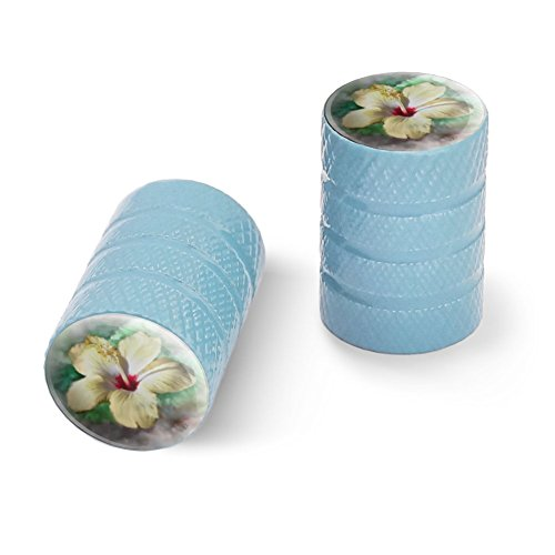 Graphics and More Tropical Yellow Hibiscus Flower Hawaiian Vacation Motorcycle Bicycle Bike Tire Rim Wheel Aluminum Valve Stem Caps - Light Blue