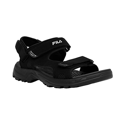 Sandal Footwear Sandals - Fila Men's Transition Athletic Sandal, Black/Black/Metallic Silver, 12 M US