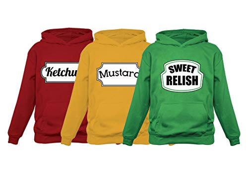 Ketchup Mustard & Sweet Relish Halloween Easy Costume Matching Group Set Hoodies Ketchup Red Medium/Mustard Yellow Medium/Relish Green Large -