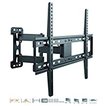 DURAMEX TV Wall Mount, Corner Mount Bracket for most 37-70 Inch LED, LCD, OLED Flat Screen TV with Full Motion Articulating Arm up to VESA 600x400mm and 77 LBS with Tilt, Swivel, and Level Adjustment