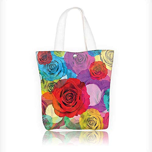 canvas tote bag Various Bright Roses Background in Modern Pop Work Romantic Sensual Flowers reusable canvas bag bulk for grocery,shopping W11xH11xD3 INCH -