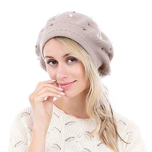 Leahward Soft Beret Jewel Women's Hat Ladies Gift Pearl With Hats Cashmere Fashion Nude Warm Winter Beanies Bag rSqr5w8