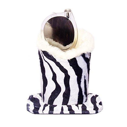 Eyeglass Holder Stand, Polersun Plush Lined Women Men Protective Glasses Holder Stand Case for Desk Home Office - Eyeglasses Zebra
