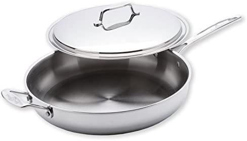 USA Pan 1545CW-1 Cookware 5-Ply Stainless Steel 13 Inch Gourmet Chef Skillet With Cover, Oven and Dishwasher Safe, Made in the USA, 13-Inch, Silver