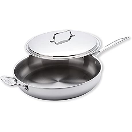 USA Pan Cookware 5 Ply Stainless Steel 13 Inch Gourmet Chef Skillet With Cover Oven And Dishwasher Safe Made In The USA
