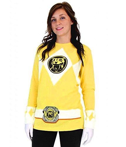 [Power Rangers Yellow Ranger Long Sleeve Costume T-Shirt-XX-Large] (Yellow Ranger Costumes)