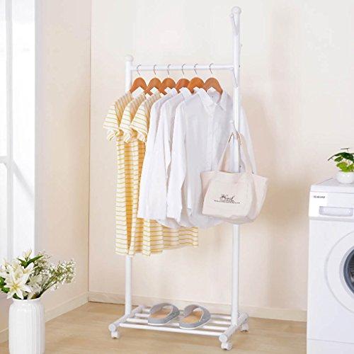 BJLWT Simple Metal Garment Rack with wheels Clothing Rack Fl