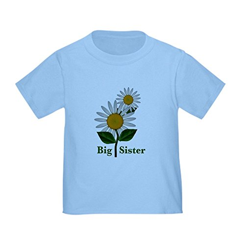 CafePress Daisies Big Sister Toddler T-Shirt Cute Toddler T-Shirt, 100% Cotton Baby Blue