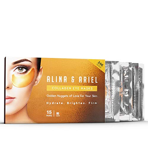 Under Eye Patches (15 PCS) - Genuine 24K Gold Eye Masks | Anti-Aging Eye Pads, Tones, Tightens | For Puffy Eye Bags, Dark Circles, Wrinkles | 8 Hours of Sleep in 20 Minutes | Spa Treatment at Home