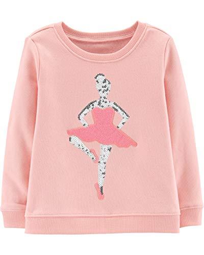 Osh Kosh Girls' Toddler Sequin Crew Neck Sweatshirt, Ballerina Glitter, 5T