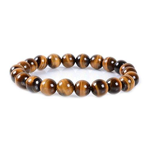 Golden Tigers Eye Bracelet (Natural A Grade Golden Tiger's Eye Gemstone 8mm Round Beads Stretch Bracelet 7