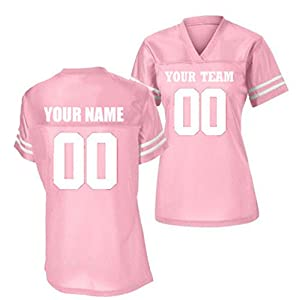 Womens Custom Stadium Replica Football Jersey (Pink, Large)