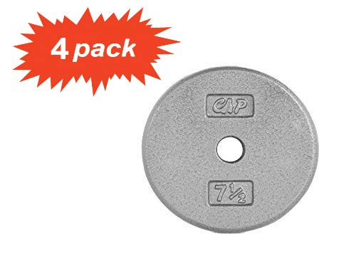 CAP Barbell* Standard Free Weight Plate, 1-Inch Standard Bars, 7.5-Pound in Gray, Set of 4