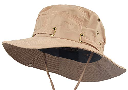 Waterproof Safari Hats | Wide Brimmed Sun Protection Boonie Cap | Explorer Jungle Bush Bucket Hat for Outdoor Hiking Fishing (Khaki) (Khaki Classic Outback)