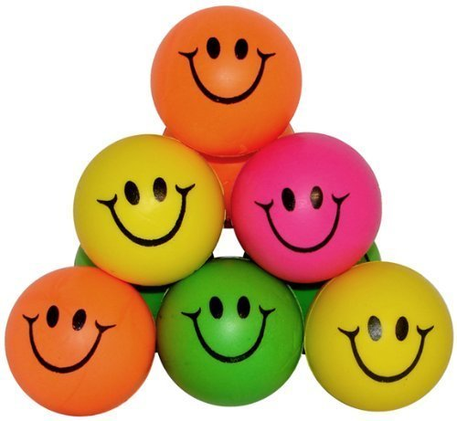 Happy Face Squeeze Balls Mini Neon Smile Face Relaxable Balls(Pack of - Happy Neon Faces