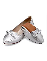 Women's Foldable Soft Pointed Toe Bowknot Comfort Slip On Ballet Flat Shoes