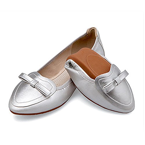OCHENTA Women's Foldable Soft Pointed Toe Bowknot Comfort Slip On Ballet Flat Shoes Silver vyTHbF