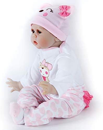 ZIYIUI 22 Pollici 55 cm Bambola Reborn Realistico Bambole Reborn Morbido Silicone Vinilico Reborn Dolls Giocattoli
