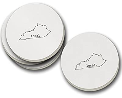 Local Kentuckian Kentucky State Sandstone Coasters Round Set of 4