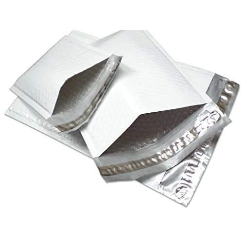 """#00 5 x 10 Inch Oknuu Packaging Supplies White Poly Bubble Mailers Self-Sealing Shipping Envelopes Plastic Mailing Bags 5""""x10"""" PBM00 5""""x9"""" Inner Size (100 Pack)"""