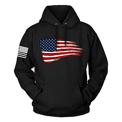 The Fighting Forces American Flag Patriotic Hoodie (American Flag, Large)