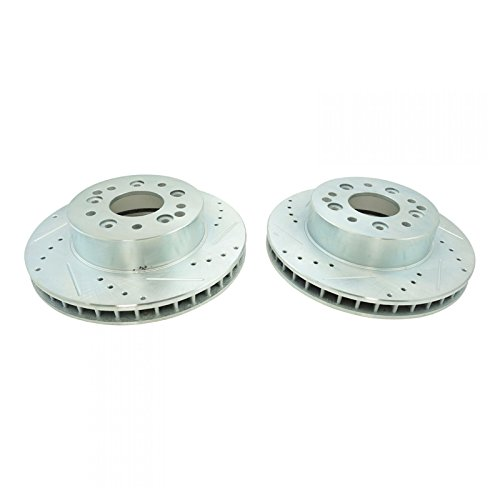 ss Drilled Slotted Zinc Coated Brake Rotor Pair ()