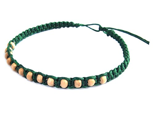 Thai Buddha Fashion Art Handmade Bracelet Green Wax String White Wood Beads Wristband Thailand