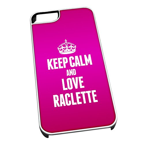 Bianco cover per iPhone 5/5S 1436Pink Keep Calm and Love raclette