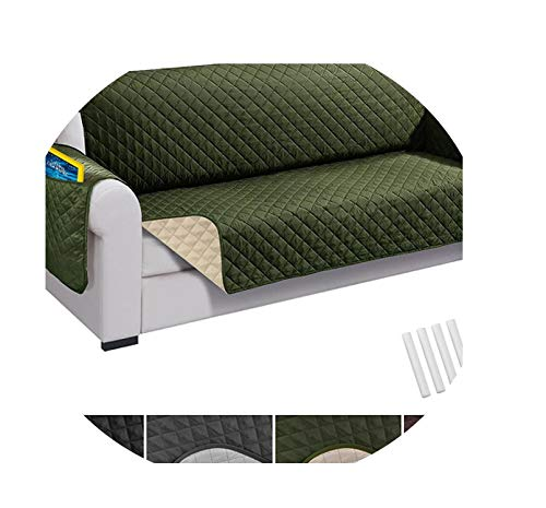 Recliner Sofa Couch Cover Pet Dog Kids Mat Protector Sofa Cover Waterproof Quilted Reversible Sofa Covers for Living Room,Army Green,Recliner (76x230cm),United States