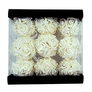 idyllic 9pcs Rose Flower Foam Kissing Balls for Bridal Wedding Centerpiece Party Ceremony Decoration 3.5 Inches (White) 2