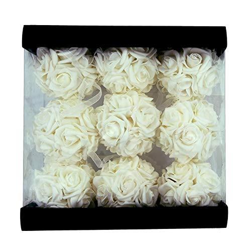 "idyllic 9pcs Rose Flower Foam Kissing Balls for Bridal Wedding Centerpiece Party Ceremony Decoration 3.5"" (White)"