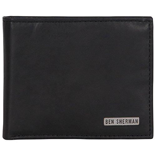 - Ben Sherman Men's Leather Nine Pocket Bi-fold Passcase Wallet with Id Window (RFID), Black