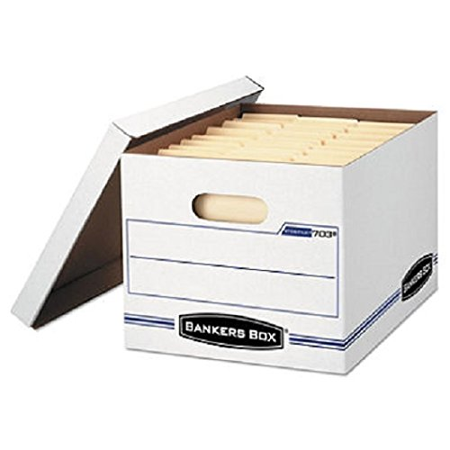Light Duty Letter (Bankers Box Products - Bankers Box - Stor/File Storage Box, Letter/Legal, Lift-Off Lid, White, 6/Pack - Sold As 1 Pack - Light-duty stacking strength for storage with or without shelving. - Double-bottom, double-end, single-side construction. - Lift-off lid ships attached to prevent lid loss, then tears off for use.)
