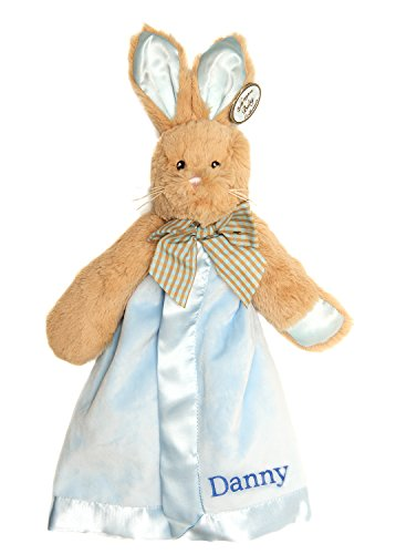 PERSONALIZED Bearington Blue Bunny Tail Rabbit Snuggler Plush Velour Security Blanket~ Make it Special! - Bunny Velour Blanket