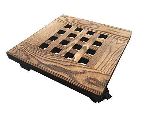 Yeme Pine Wood Square Plant Dolly/Caddy Plant Stand with Roller, Carbonized 10