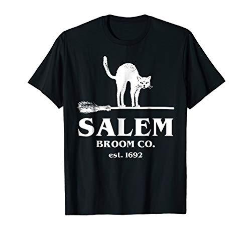 Salem Broom Company Shirt Women, Halloween Black Cat Witch -
