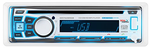 BOSS Audio MR762BRGB Marine Stereo - Single Din, Bluetooth Audio, CD/USB/SD/MP3, Aux in, AM/FM Radio, Weatherproof, Detachable Front Panel, Multi-Color Illumination, Wireless Remote