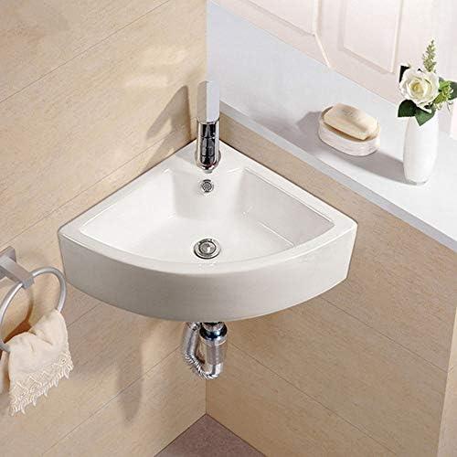 洗面ボール トライアングルは、芸術盆地洗面用小型クロークをぶら下げセラミック容器バニティシンクハンギング 洗面器 (Color : White, Size : 45.5x33x13cm)